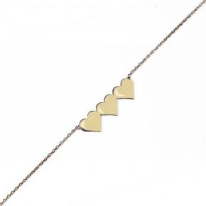 Trzy urocze złote serduszka na złotym łańcuszku