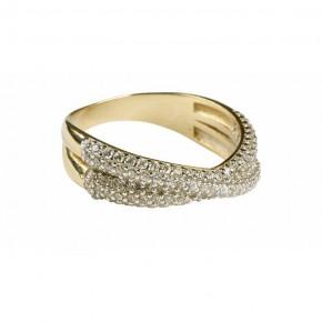 Wyjątkowy, złoty pierścionek mocno zdobiony cyrkoniami.