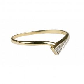 Bardzo finezyjny pierścionek złoty, cyrkonia.