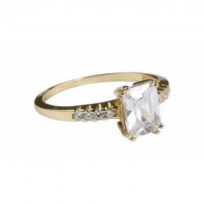 Piękny pierścionek z dużą, prostokątną cyrkonią.