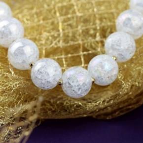 Naszyjnik - kryształ górski (lodowy) z pozłacanym srebrem