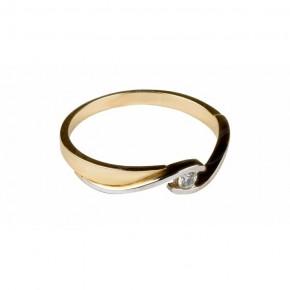 Delikatny, dwukolorowy pierścionek, subtelna cyrkonia.