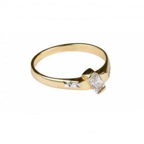 Klasyczny i efektowny pierścionek z cyrkonią, rodowany.