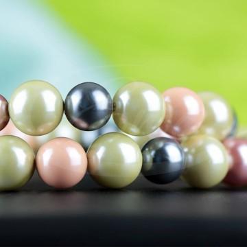 Naszyjnik - różnokolorowy, z pereł majorka, hematytu i srebra