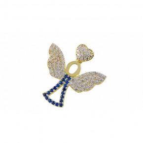 Fantazyjna zawieszka ze złota z rodowaniem, w kształcie uroczego kwiatu.