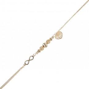 Etniczna, dwukolorowa bransoletka ze złota z pięknym elementem w kształcie pióra.