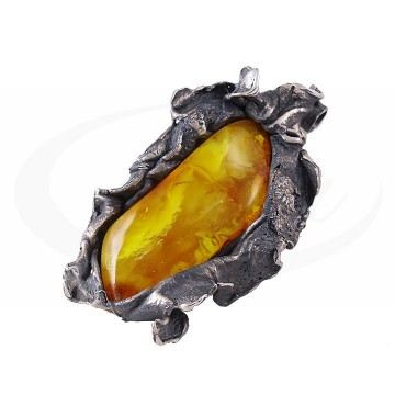 Efektowna, duża srebrna kalia z pięknym, żółtym bursztynem.