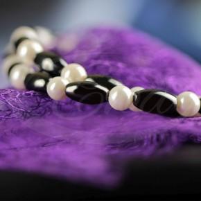 Naszyjnik - perły z hematytem