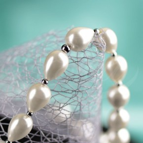 Naszyjnik - perły majorka (krople) z hematytem