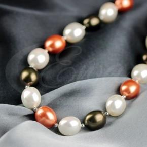 Różnokolorowe perły majorka z hematytem - naszyjnik