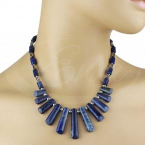 Naszyjnik lapis lazuli, hematyt, srebro.