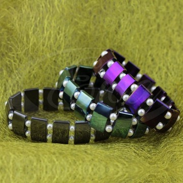 Eleganckie bransolety z hematytu i pereł.