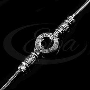 Zniewalający, wyjątkowy łańcuszek srebrny, oksydowany.