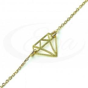 Elegancka, złocona bransoletka celebrytka - diament