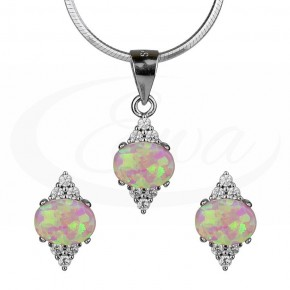 Dystyngowany i stylowy komplet, opale, cyrkonie.