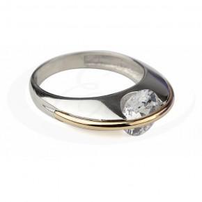 Codzienny pierścionek z cyrkonią i złoceniem.