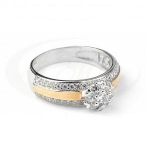 Cudowny pierścionek ze złoceniem i cyrkoniami.