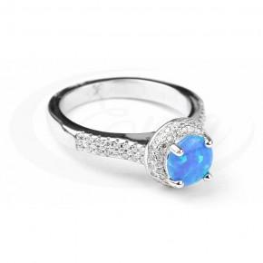 Olśniewający pierścionek, niebieski opal, cyrkonie.