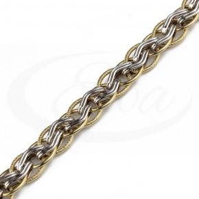 Oszałamiająca, szeroka, przeplatana bransoleta złota