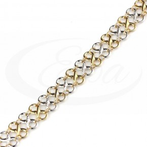 Dwukolorowa, niezwykła bransoletka złota- nieskończoności.