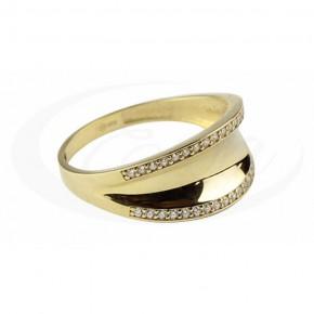 Zjawiskowy pierścionek złoty zdobiony cyrkoniami.
