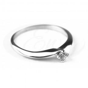 Delikatny, śliczny pierścionek z białego złota.