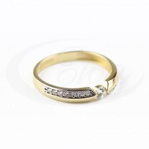 Dwukolorowy, piękny złoty pierścionek, cyrkonia.