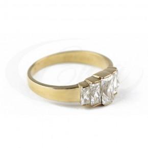Zjawiskowy pierścionek z wyrazistymi cyrkoniami.