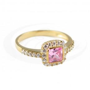Uroczy pierścionek z różowa cyrkonią.