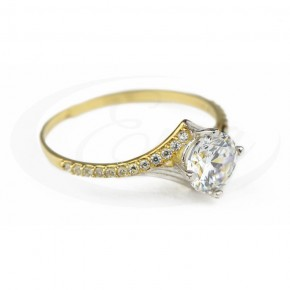 Arystokratyczny pierścionek złoty z cyrkonią.