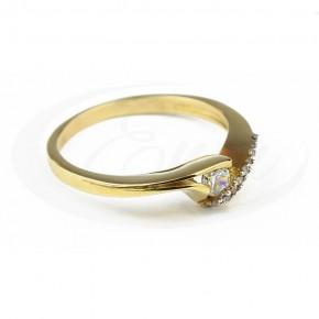 Nowoczesny i oryginalny pierścionek, cyrkonie.