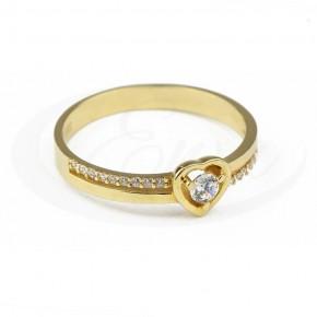 Cudowny pierścionek z serduszkiem i cyrkoniami.