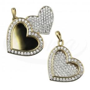 Elegancka zawieszka złota dwa serca
